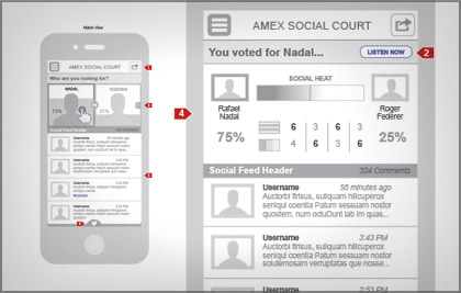 We created a social court that gave users a visual and social pulse of the hottest matches. Commenting, user polls and interactive features enhanced the user experience.